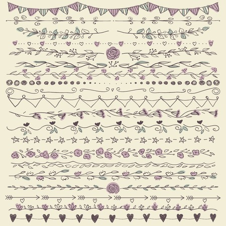Set of hand drawn lines border and elegant design elements. Pastel backdrop. Can be use as decoration. Stock Illustratie