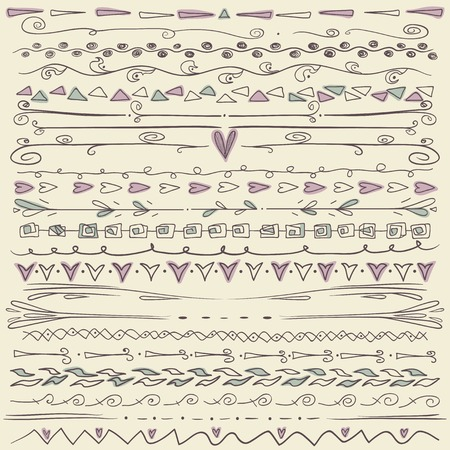 Set of hand drawn lines border and elegant design elements. Pastel backdrop. Can be use as decoration. Vector