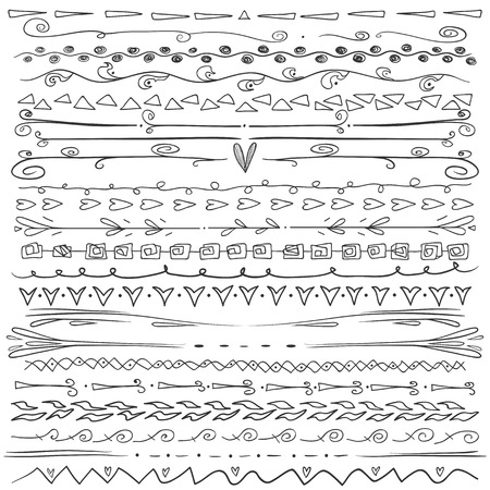 Set Of Hand Drawn Lines Border And Elegant Design Elements White