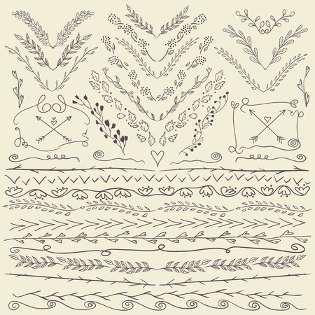 Set of hand drawn lines border and elegant design elements. Can be use as decoration.