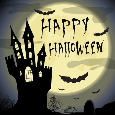 happy house: Happy Halloween card.  Halloween template with  four haunted castle, pumpkin,  full moon and bats. Illustration