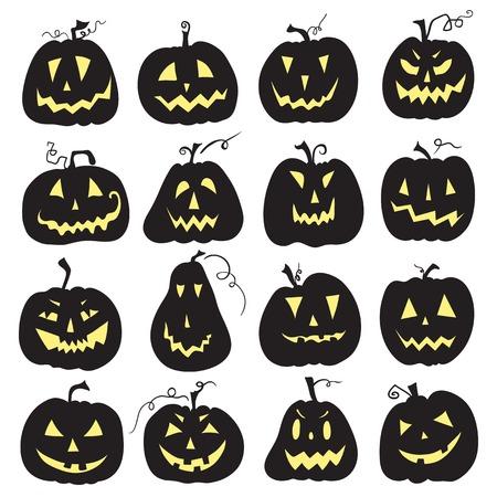 Set of a scary halloween pumpkin.  White backdrop. Pumpkins designs with different facial expressions. Sixteen  pumpkins. Иллюстрация