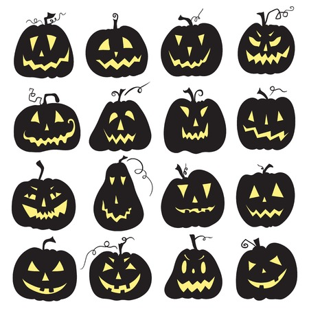 Set of a scary halloween pumpkin.  White backdrop. Pumpkins designs with different facial expressions. Sixteen  pumpkins. Illustration