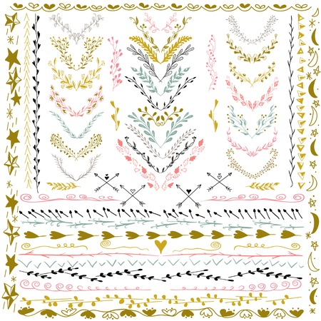 Set of Floral Design Elements. Wedding set with arrows, hearts, laurel, wreaths and labels. Decorative elements. Hand Drawn graphic elements. Pastel backdrop.  Vector