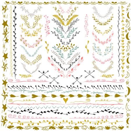 Set of Floral Design Elements. Wedding set with arrows, hearts, laurel, wreaths and labels. Decorative elements. Hand Drawn graphic elements. Pastel backdrop.  Vector