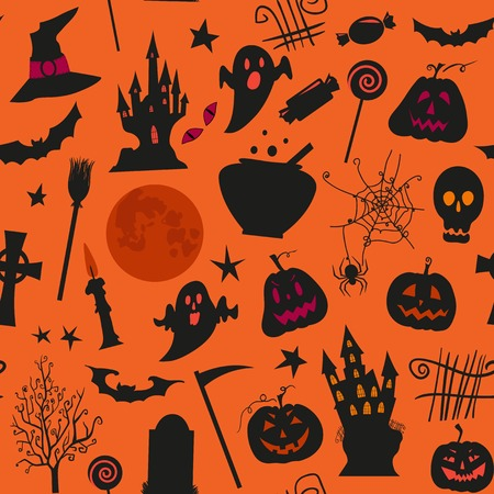 simbols: Seamless halloween pattern with , castles, candles, pumpkins, jack o lantern and other simbols. Use for web page backgrounds, postcards, greeting cards, invitations, surface textures. Illustration
