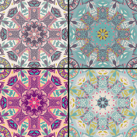 bandanna: Set of traditional ornamental paisley bandanna. Hand drawn background with artistic pattern. Seamless pattern can be used for wallpaper, fills, background