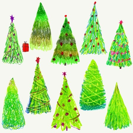 ultramarine: Set of Christmas  trees isolated on white background. Blue and ultramarine colors. Christmas trees holidays. Vector illustration. Blue and ultramarine colors. Illustration