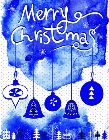 ultramarine: Merry Christmas card, Christmas bubbles,  trees and snowflakes.Watercolor background. Ultramarine and blue colors. Illustration