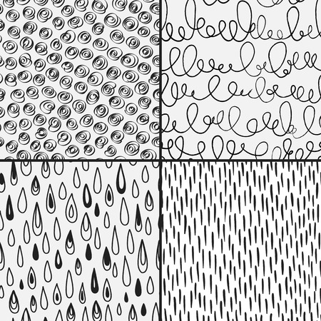Set of abstract doodles with doodles, circkes, drops and strores. Black and white colors. Seamless pattern can be used for wallpaper, pattern fills, web page background,surface textures.