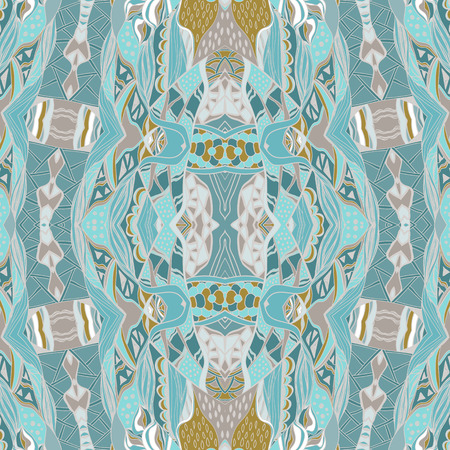 Traditional ornamental paisley bandanna. Hand drawn background with artistic pattern. Pastel colors. Seamless pattern can be used for wallpaper, fills, background