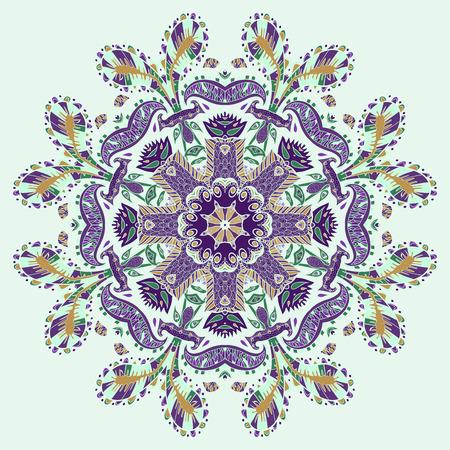 bandanna: Traditional ornamental paisley bandanna. Hand drawn background with artiMandala, geometric round ornament. Traditional ornamental paisley bandanna.