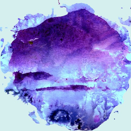colors paint: Abstract hand paint watercolor background, vector illustration, stain watercolors colors on wet paper.  Ultramarine and violet colors. Watercolor composition for scrapbook elements or print.