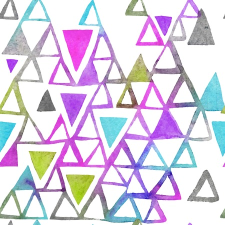 Seamless watercolor pattern with triangles. Triangles pattern of geometric shapes. Vector illustration. Bright shapes and white backdrop.