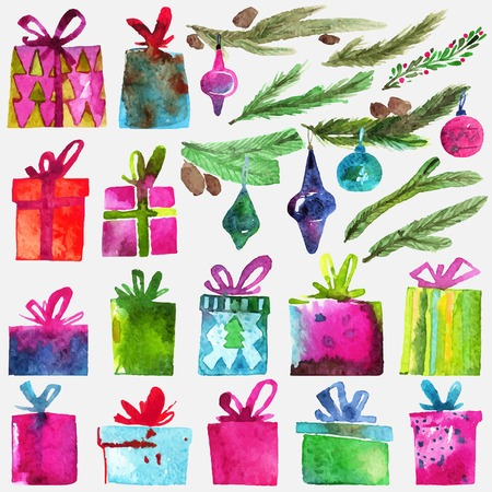 Watercolor Christmas set with gift boxes, holly branches and toys isolated on white background. Watercolor art. Vector illustration. Christmas decoration elements.