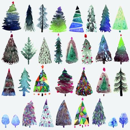 abetos: Gran colección de la acuarela del árbol de Navidad aislado en un fondo blanco. Vacaciones Diseño Árboles de navidad de papel de regalo, reservación del desecho Vectores
