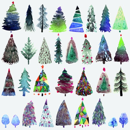 Big collection of watercolor Christmas tree isolated on a white background. Design holiday Christmas trees for wrapping paper, scrap booking Illustration