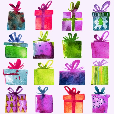 Watercolor Christmas set with gift boxes,  isolated on white background. Watercolor art. Vector illustration. Christmas decoration elements. Ilustração