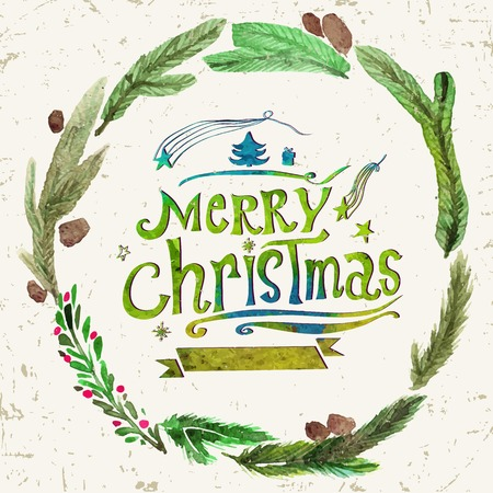 christmas watercolor: Watercolor Christmas greeting card with wreath of holly twigs and text Merry Christmas. Watercolor art. Christmas decor. Christmas gifts and scrapbooking. Illustration for greeting cards, invitations, and other printing projects.