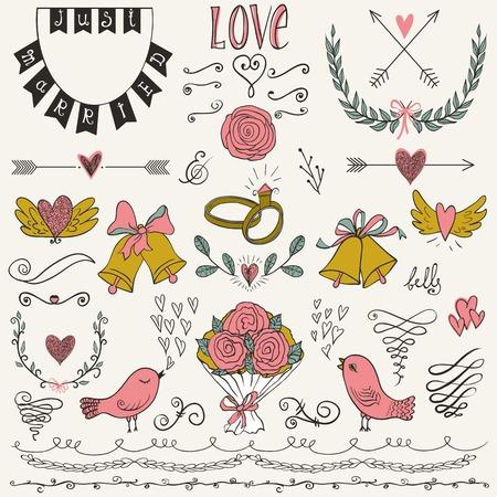 elements: Boda gráficas establecidas, flechas, corazones, pájaros, campanas, anillos, laurel, guirnaldas, cintas y etiquetas. Colección de elementos de diseño de la boda del vector. Conjunto decorativo de los objetos de vacaciones o de signos.