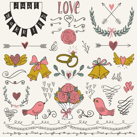scrapbook elements: Wedding graphic set, arrows, hearts, birds, bells, rings, laurel, wreaths, ribbons and labels. Collection of vector wedding design elements. Decorative set of holiday objects and signs. Illustration