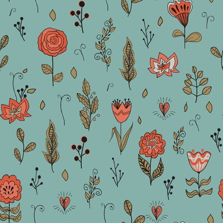 Vector seamless floral pattern with garden flowers. Hand drawn  flowers and leaves. Seamless pattern, vector design. Vector