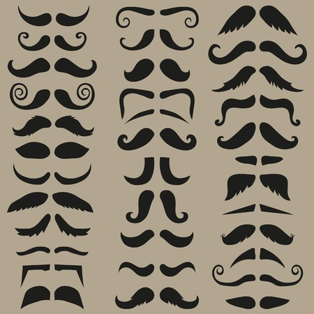 rogue: Vector set of hipster mustache. Black silhouette. Easy for edit.  Illustration