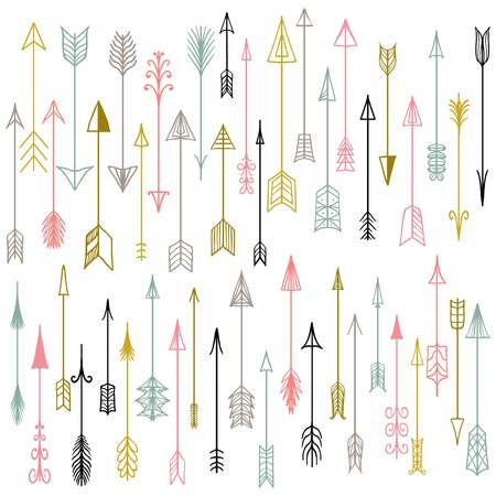 Vector hand drawn arrows collection.  Doodle arrows made by hand drawn.