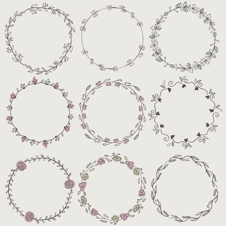 circle frames: Set of nine hand-draw vector laurel wreaths. Sketch frames, hand-drawn in vintage style.  Vector illustration. Hand Drawn graphic elements. Decorative elements.