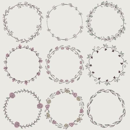 Set of nine hand-draw vector laurel wreaths. Sketch frames, hand-drawn in vintage style.  Vector illustration. Hand Drawn graphic elements. Decorative elements. 免版税图像 - 37717776