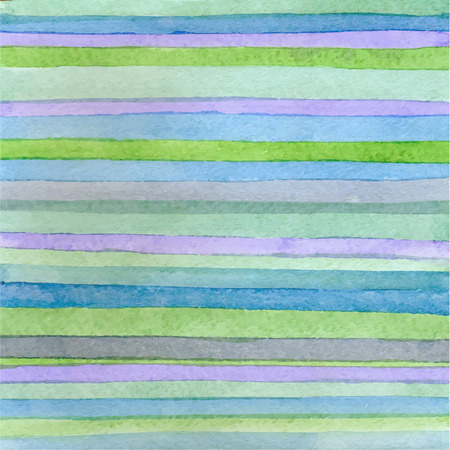 Striped hand drawn watercolor background. Vector version. Blue colors. Hand drawn technique. Watercolor composition for scrapbook elements or print.
