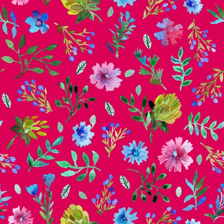 Watercolor painting. Watercolor seamless pattern with beautiful flowers and leaves. lower pattern on red background.