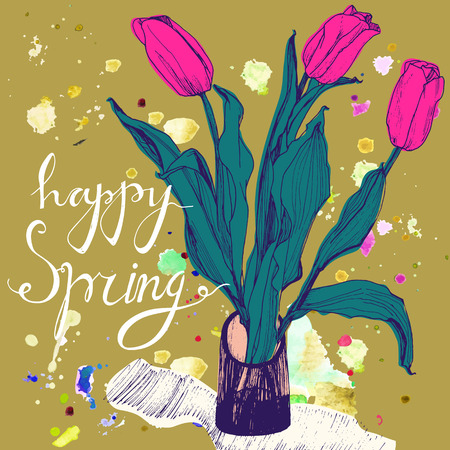 greeting season: Decorative card with hand drawn tulips  and text happy spring. Greeting card for 8 March holiday, birthday or spring season. Yellow backdrop and watercolor spots. Vector illustration. Illustration