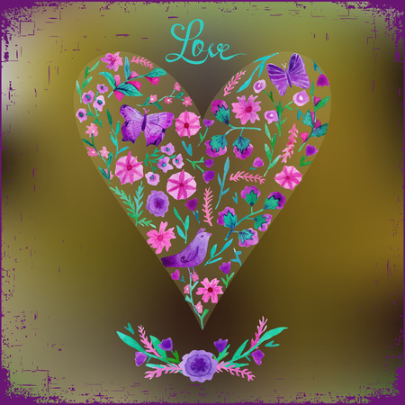 floral heart: illustration of watercolor floral heart and text love.