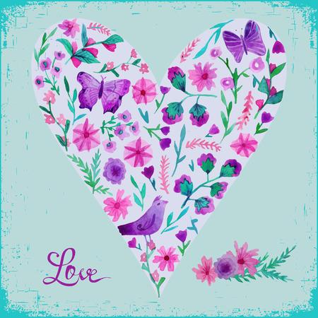 floral heart: Colorful floral heart.  Illustration