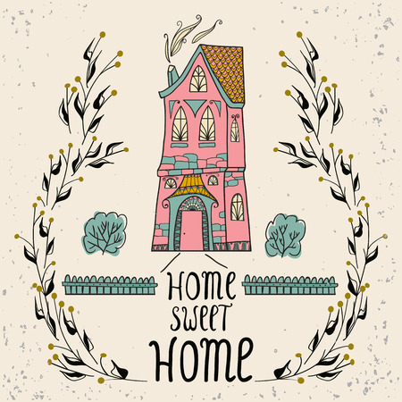 plant sweet: Sweet Home background with twigs Home Sweet Home card isolated on pastel background.