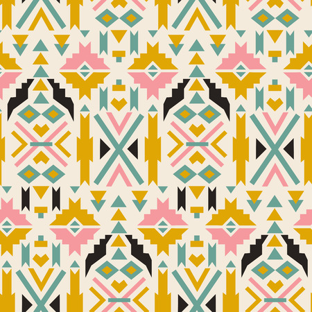 swatch book: Seamless colorful aztec pattern.