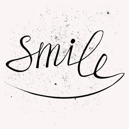 sonriente: Dibujado a mano cartel de la tipografía. Diseño elegante cartel tipográfico con la inscripción sonrisa. Se utiliza para tarjetas de felicitación, carteles e invitaciones impresas. Vectores