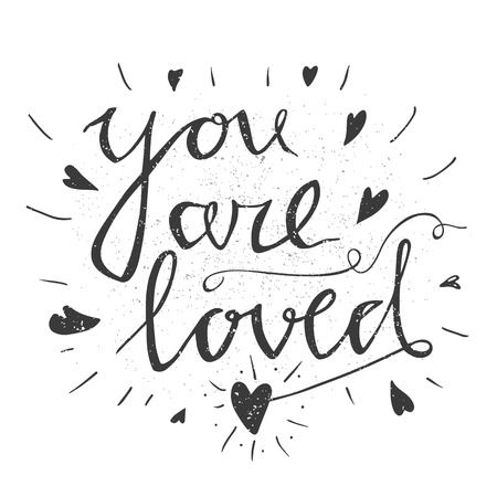love you: Hand drawn typography poster. Stylish typographic poster design with inscription all you neen is love. Inspirational illustration. Used for greeting cards, posters and print invitations.