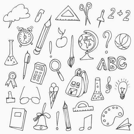 Hand drawn back to school doodles. Vector illustration.