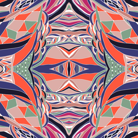 neckerchief: Traditional ornamental paisley bandanna. Hand drawn colorful aztec pattern with artistic pattern. Seamless pattern can be used for wallpaper, pattern fills, web page background, surface textures. Illustration