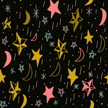 moons: Cute seamless pattern with hand drawn moons and stars. Editable vector illustration. Dark background. Can be used as decoration for the gift boxes, wallpapers, backgrounds, web sites.