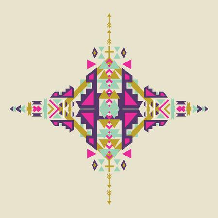 elemento tribale in stile azteco, disegno tribale isolato su sfondo pastello. motivi indiani d'America. Vettoriali colorate elementi su stile etnico nativo.