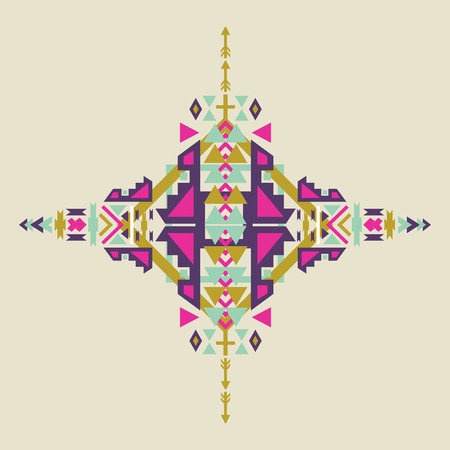 cherokee: Tribal element in aztec stile, tribal design isolated on pastel background. American indian motifs. Vector colorful elements on native ethnic style. Illustration