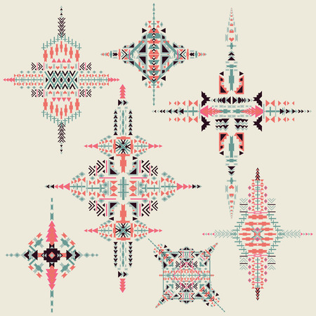 Vector Tribal ethnic ornament. Aztec decor elements . Tribal  elements design isolated on pastel background. Perfect for  your design,  banners, posters, cards, backgrounds. 向量圖像