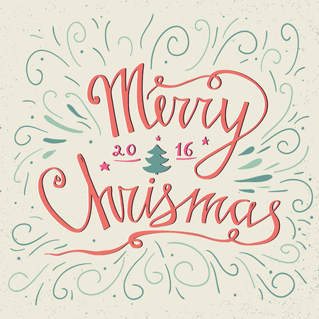 handlettering: Christmas typography. Hand drawn typography poster. Merry Christmas greetings hand-lettering inscription -  isolated on pastel background. Illustration