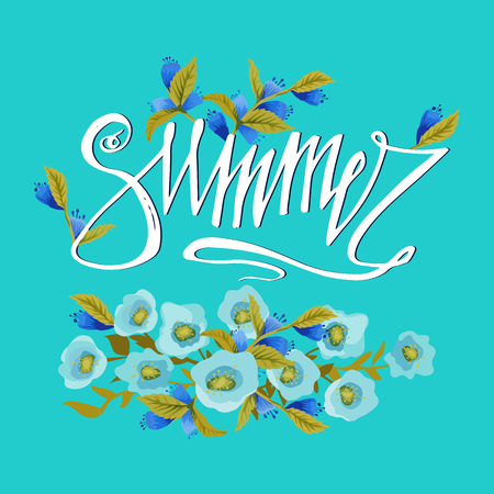 greeting season: Summer card on blue background with colorfull flowers.  Summer word and flowers. Season greeting poster