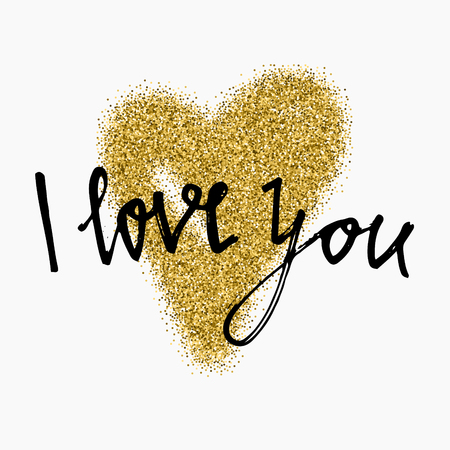 glitter heart: Gold glitter heart sign sparkles isolated on white background. I love you. Hand brush lettering. Design for wedding card, valentine, save the date.