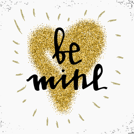 gold mine: Gold glitter heart sign sparkles isolated on white background. Be mine. Design for wedding card, valentine, save the date, card. Love design concept.