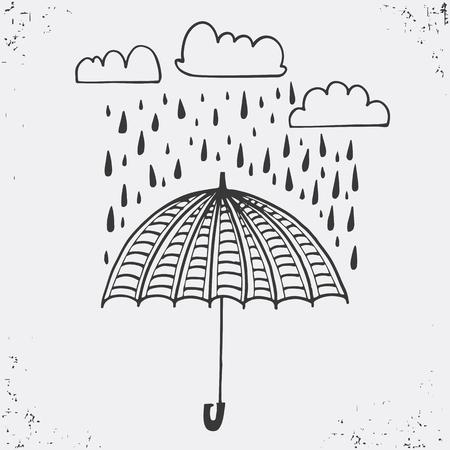 gotas de agua: Dibujado a mano cartel con paraguas, nubes y gotas de lluvia. Paraguas y gotas de lluvia, la silueta en negro sobre fondo blanco. Ilustraci�n del vector Se utiliza para las tarjetas de felicitaci�n, carteles e invitaciones de impresi�n. dise�o tipogr�fico. Ilustraci�n del vector. Vectores